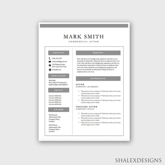 Actor Resume Template Microsoft Word Doc Instant Download