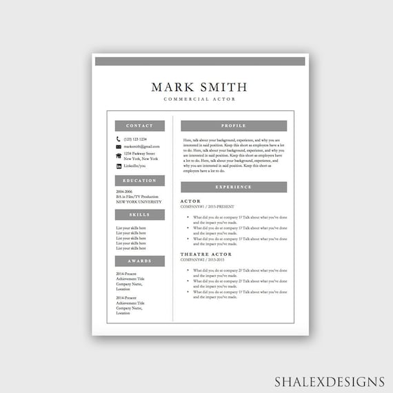Actor Resume Template - Microsoft Word Doc *INSTANT DOWNLOAD*
