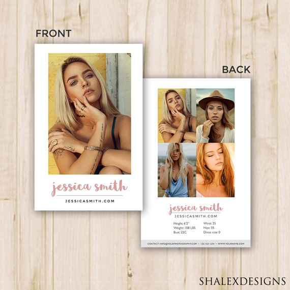 Modeling Comp Card Template Photoshop PSD INSTANT DOWNLOAD