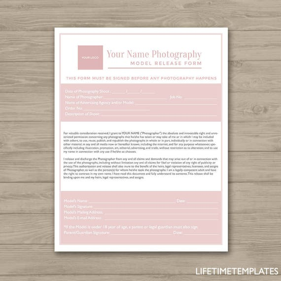 Photographer Model Release Form Template Photography Forms Template Photoshop Template For Photographers Psd Instant Download