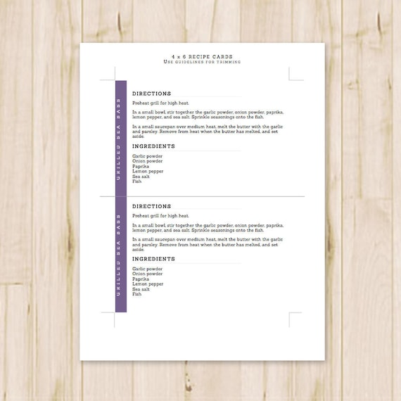 4x6 Purple Recipe Cards Modern Printable Recipe Cards Card Recipe Recipe Card Template Ms Word Instant Download