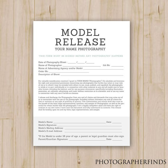 Model Release Form Template Booking Form Photography Forms Business Contract Photographer Photoshop Template Psd Instant Download