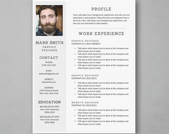 Resume Template Word with Gray Sidebar - Modern Resume Template - Resume Cover Letter - MS Word *INSTANT DOWNLOAD*