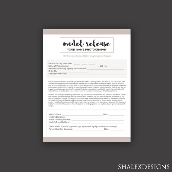 Photography Model Release Forms Photoshop Template For Photographers Photoshop Psd Instant Download