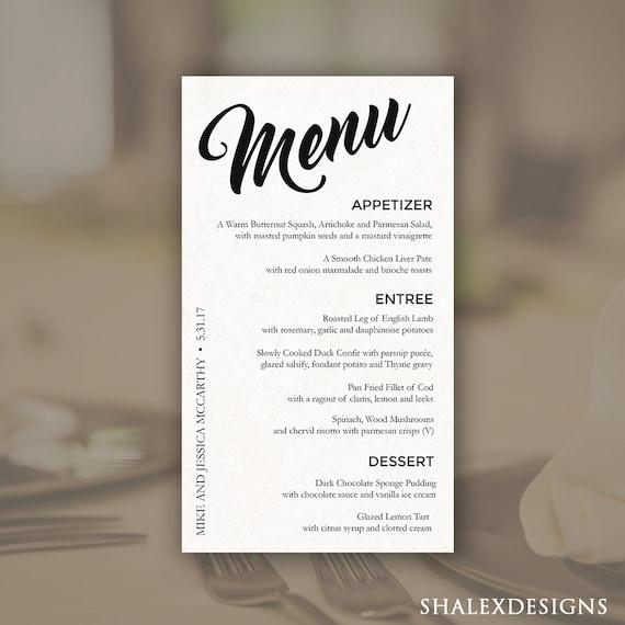 Wedding Menu Template Printable Dinner Photoshop PSD