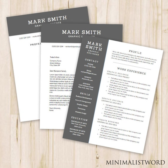 3 Pack Resume Template Cover Letter Template References Etsy