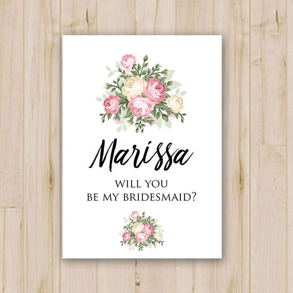 Bridesmaid Card Template Bridesmaid Invitation Will You Be My Bridesmaid Bachelorette Bridesmaid Request Psd Instant Download