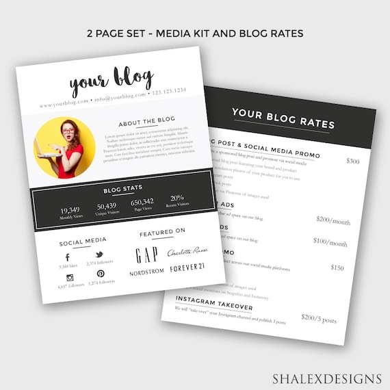 Blogger media kit and rate kit template photoshop psd etsy image 0 maxwellsz