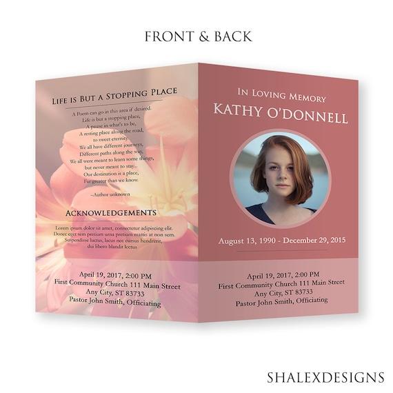 Funeral Template Funeral Program Template Memorial Card Etsy