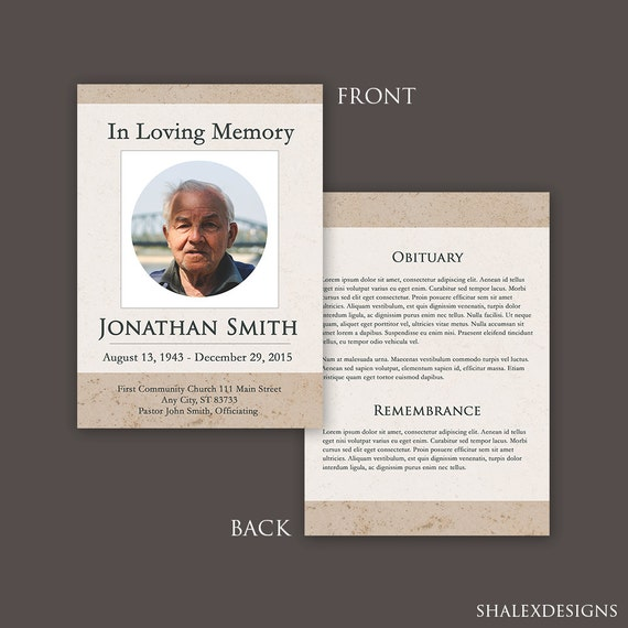 funeral program template funeral card template funeral etsy