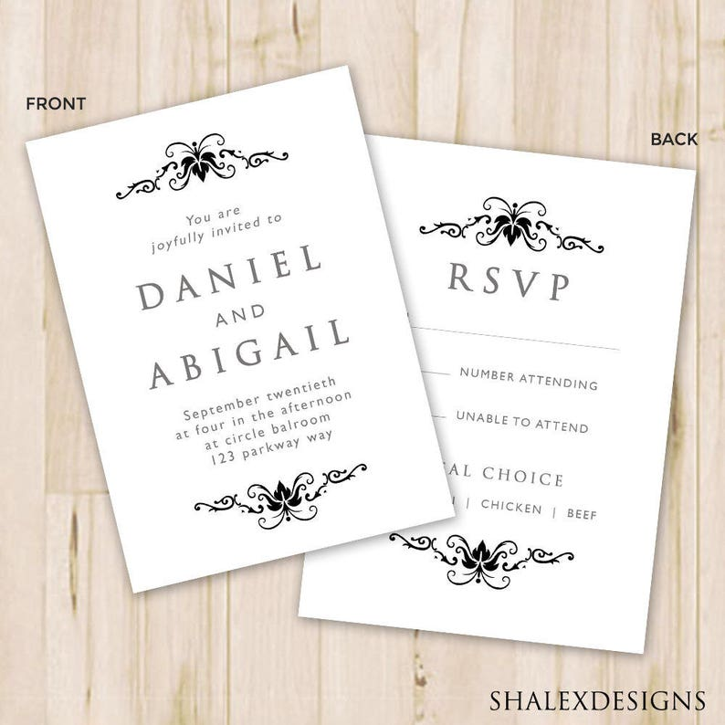 Black White Wedding Invitation Template