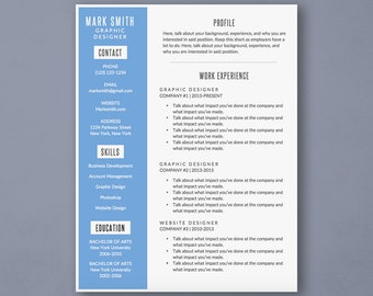 Word Resume Template with Blue Sidebar - Modern Resume Template - Resume Cover Letter - MS Word *INSTANT DOWNLOAD*