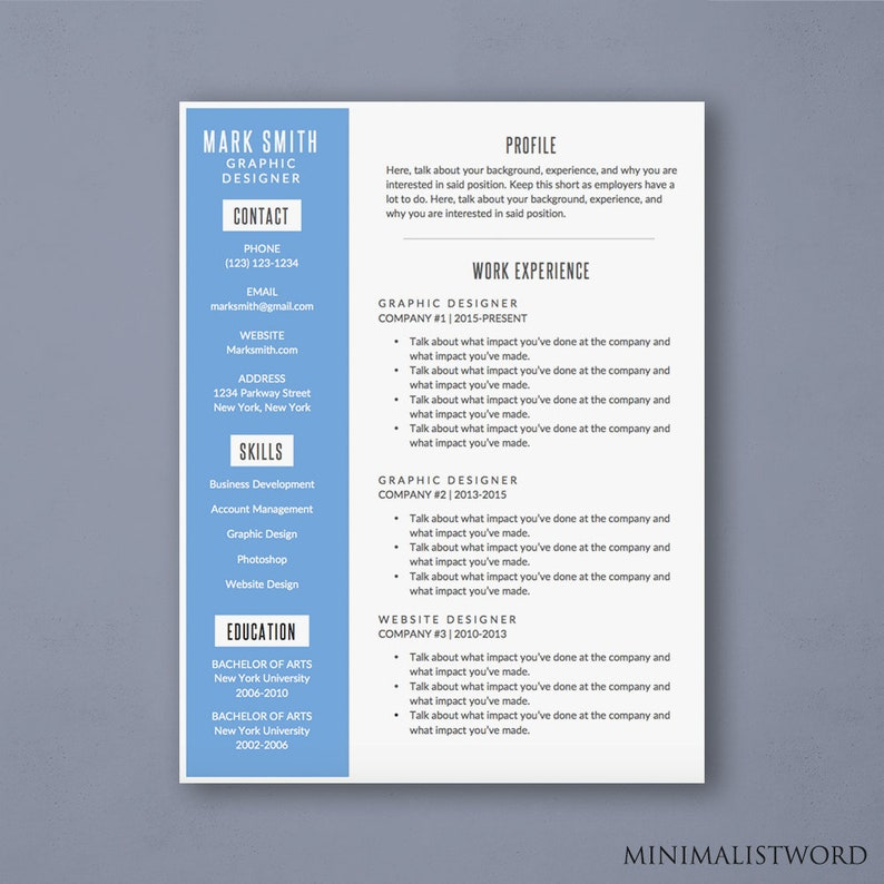 Word Resume Template With Blue Sidebar Modern