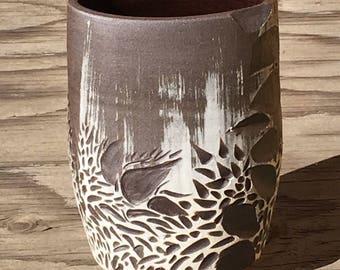 Ceramic Vase: Dark Brown Stoneware with   White Porcelain Slip Sgraffito Design