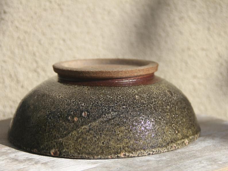 Toasty Brown Stoneware with Carbon Trap Shino Glaze Ceramic Bowl