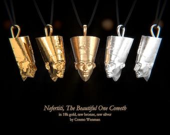 NEFERTITI necklace pendant (facing forward)   Gold, Silver, Bronze, Platinum, Ancient Egyptian Artifact, Egyptian, Cameo