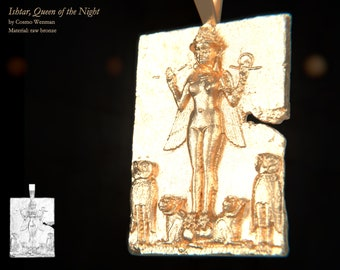 ISHTAR, Queen of the Night necklace pendant   Gold, Silver, Bronze, Platinum, Ancient Babylonian Artifact Jewelry, Lilith, Pagan