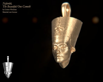 NEFERTITI petite necklace pendant (facing forward)   Gold, Silver, Bronze, Platinum, Ancient Egyptian Artifact, Egyptian, Cameo