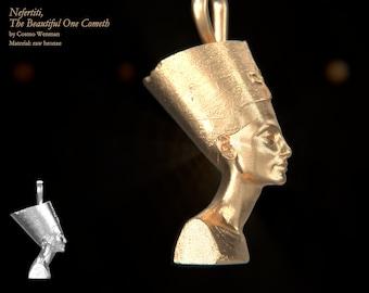 NEFERTITI petite necklace pendant (profile)   Gold, Silver, Bronze, Platinum, Ancient Egyptian Artifact, Egyptian, Cameo