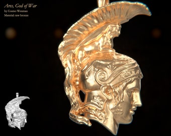 ARES, God of War necklace pendant (profile)   Gold, Silver, Bronze, Platinum, Ancient Greek Artifact Jewelry, Greek, Pagan, Cameo