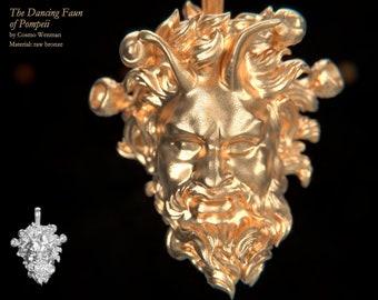 THE DANCING FAUN of Pompeii necklace pendant   Gold, Silver, Bronze, Platinum, Ancient Greek Artifact Jewelry, Greek, Pagan, Cameo