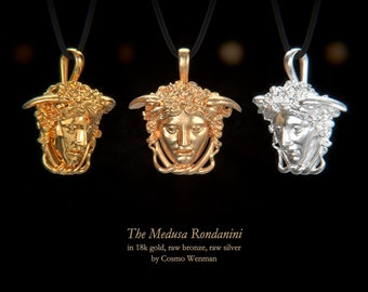 THE MEDUSA RONDANINI Petite necklace pendant   Gold, Silver, Bronze, Platinum, Ancient Greek Artifact Jewelry, Medusa, Greek, Pagan, Cameo