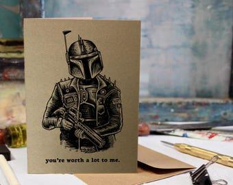 Boba Fett Card, Birthday, Love, Anniversary Screen Printed by Hand.
