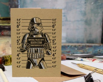 Storm Trooper Card, Birthday, Christmas, Anniversary Screen Printed by Hand.