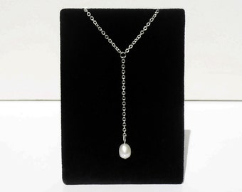 Minimal Silver Freshwater Pearl Lariat/ Y Necklace - for low cut tops & dresses.