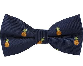 Pineapple Bow Tie for Him | Fruit Lover Farmer Bowtie for Men | Pine Apple Mens Bow Ties Groomsmen Groomsman | Fun Quirky Wedding Bowtie