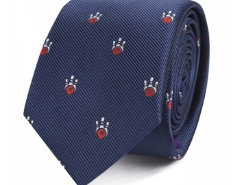 Bowling Game Mens Necktie Sports Neck Tie Bowl Ball Pin Novelty Bowler Gift