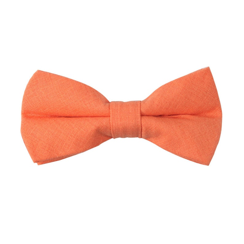 Orange Bow Tie Linen /& Cotton Bow Tie Mens Bow Tie Husband Gift Groomsmen Bow Tie Mens Gift for Dad Groomsmen Gift Groom Gift for Him