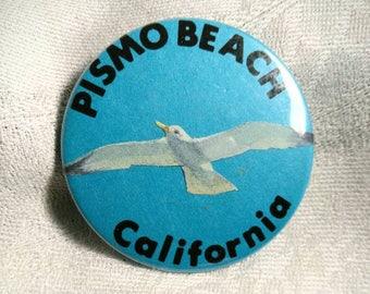 Vintage Pismo Beach California Souvenir Pin Back Button Blue With Seagull