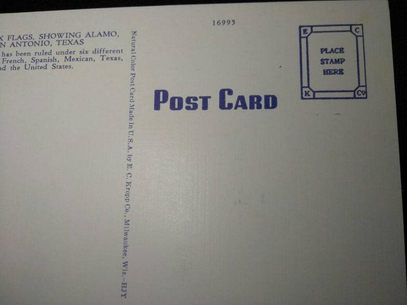 Vintage Postcard Linen Alamo Under Six Flags San Antonio Texas Unposted