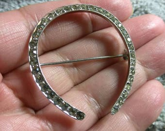 Silver Tone Horseshoe Brooch Pin with Crystals Lucky Symbol  1 1/2 Inches Horse Lovers