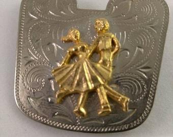 Vintage Country Square Dancing Couple Scarf Clip Bandana Clip Silver Tone