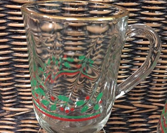 Glass Holly Christmas Mugs Set of 6 with Gold Paint Rim
