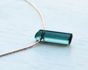 Blue tourmaline crystal necklace, tourmaline necklace gold, silver, paraiba tourmaline jewelry, October birthstone, birthday gift for her
