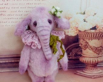 Artist teddy bear OOAK Teddy Toy Purple Elephant girl Lila 9.4ih Romantic gift for her Plushy Collection Interior Sweet Soft Teddy Elephant