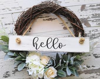 Farmhouse Wreath - Grapevine Wreath - Welcome Wreath - Front Door Wreath - Porch Wreath - Year Round Wreath - Spring Wreath - Summer Wreath