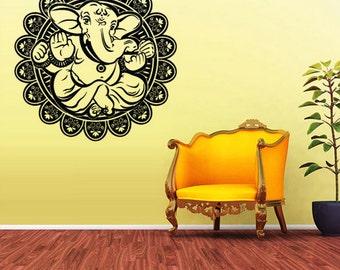 rvz1606 Wall Vinyl Sticker Decal Ganesh Om Lotos Elephant Lord Hindu Buddha India