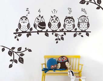 rvz3111 Wall Decal Decal Sticker Beautiful Cute Owl Birds Branch Forest Animals