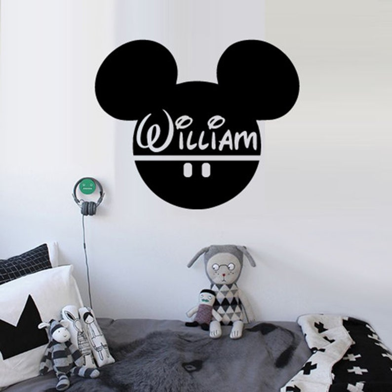 . Mickey Mouse wall decal Mickey Mouse wall sticker Personalized Baby Name  Disney Decor Custom Nursery Kids wall art Decorations Bedroom m1374