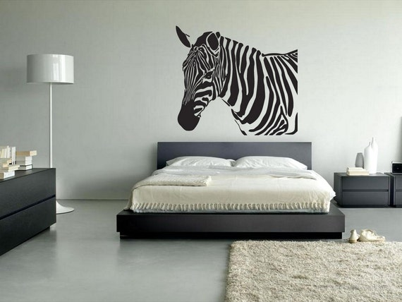 Zebra Wall decals Zebra Wall Sticker Zebra wall decor art graphics  decorations bedroom Vinyl Horse Equine rvz080