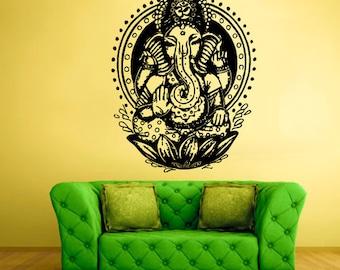 rvz1599 Wall Vinyl Sticker Decals Decor Art Bedroom Design Mural Ganesh Om Lotos Elephant Lord Hindu Success Buddha India
