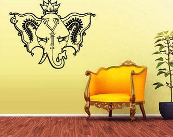 rvz1653 Wall Vinyl Sticker Decal Ganesh Om Lotos Elephant Lord Hindu Buddha India