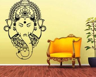 rvz1605 Wall Vinyl Sticker Decal Ganesh Om Lotos Elephant Lord Hindu Buddha India