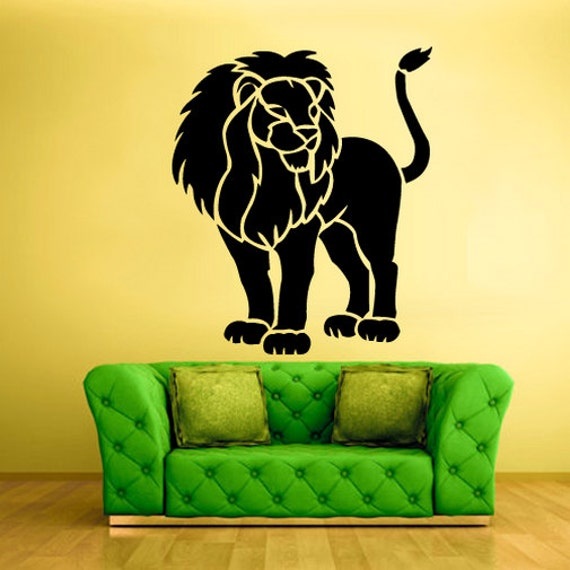 lion wall decals removable lion wall art lion wall decor lion | etsy