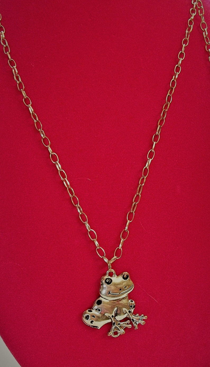 Vintage Frog Pendant Silver Tone on Long Silver Tone Rolo Chain Unisex