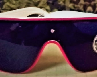 Vintage 80s Sports / Shield / Goggles Style Sunglasses, White Frame / Red Trim, Super Dark Lens, No Glare, Impact Resistant, New Old Stock,